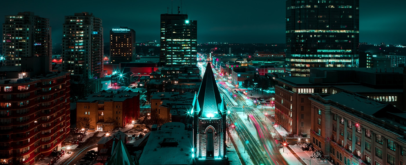 Buffalo, New York at night