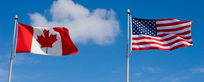 Canada & USA Flags